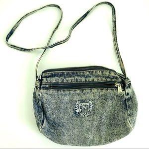 Vintage 80's acid stone wash denim crossbody bag